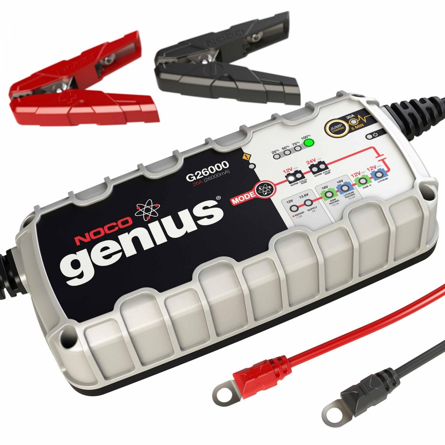 G26000 26 Amp 12 24v Noco Genius Multi Purpose Battery Charger Sealed Lead Acid Dual Step Current Mode