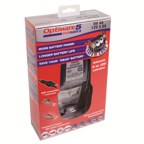 OptiMATE 5 - VoltMatic 8 step 6V 4A/12V 2.8A Battery saving charger-tester-maintainer